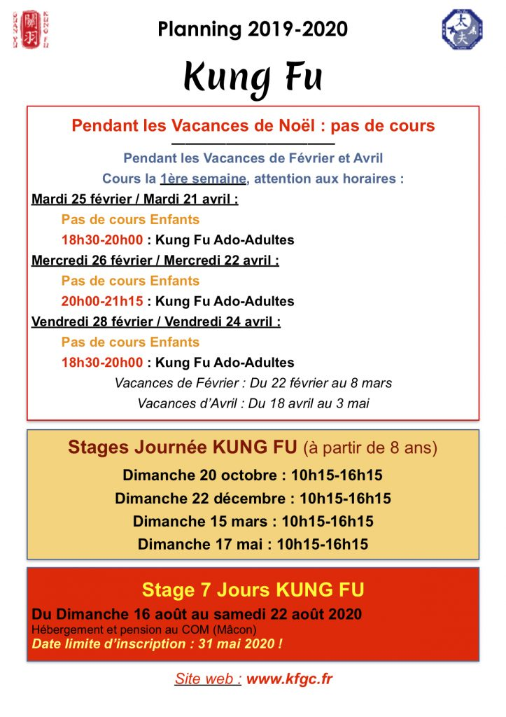 Horaires Kung Fu